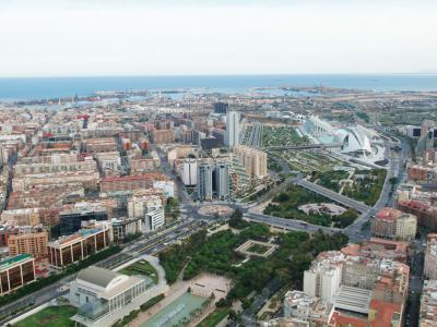 Aerial photograph of the old Turia River