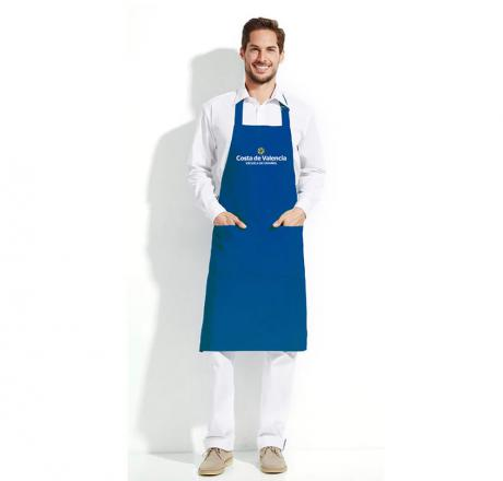 Long apron, with pocket, blue, with Costa de Valencia, escuela de español logo