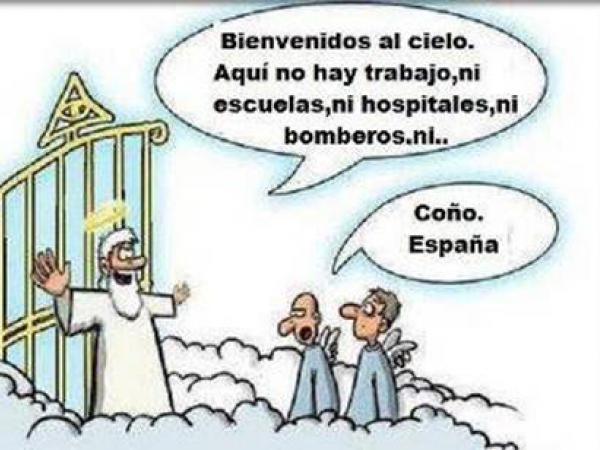 Arrivant au porte du ciel, San Pedro reçoit deux espagnol lui indiquant que ici il n'existe par les services basique comme en Espagne.
